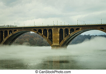 washington d.c., キーブリッジ, そして, 反射, 上に, ポトマックの 川