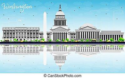 washington d.c., スカイライン, ∥で∥, 灰色, 建物, 青い空, そして, 反射。