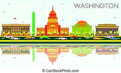 washington d.c., スカイライン, ∥で∥, 色, 建物, 青い空, そして, reflections.