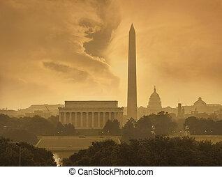 washington d.c., スカイライン, 下に, 嵐である, 雲