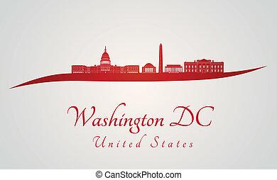 washington d.c., スカイライン, 中に, 赤