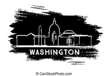 washington d.c., スカイライン, silhouette., 手, 引かれる, sketch.