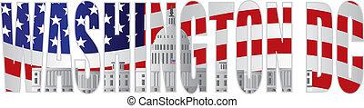 washington d.c., テキスト, アウトライン, 国会議事堂, 合衆国旗