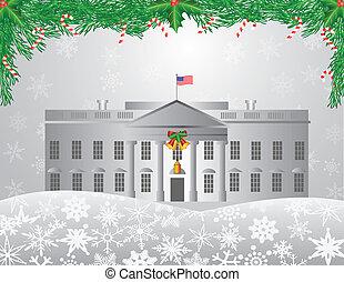 washington d.c., ホワイトハウス, クリスマス場面, イラスト