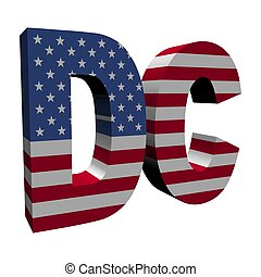 Washington DC 3d text with American flag on white...