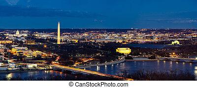 Panorama Aerial view of Washington DC cityscape from Arlington Virginia USA.