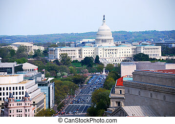 Washington DC aerial view with capitol hill building and...