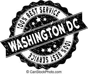Washington DC Best Service Stamp with Scratched Texture