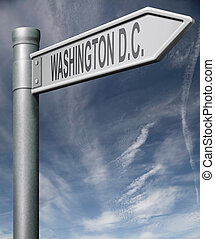 Washington D.C. capital road sign usa states clipping path
