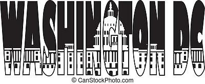 Washington DC Capitol Text Outline Illustration - Washington...