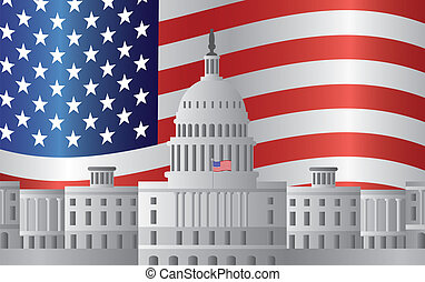 Washington DC Capitol US Flag Background