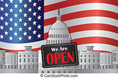 Washington DC Capitol with We Are Open Sign