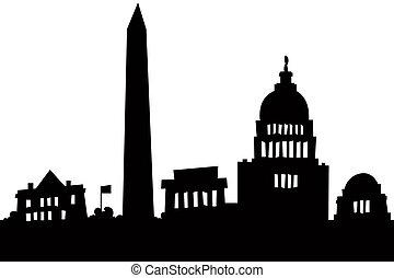 Washington DC - Cartoon skyline silhouette of the city of...