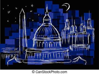 washington dc. city landmark against a dark sky
