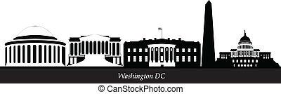 washington dc city skyline black and white with flag