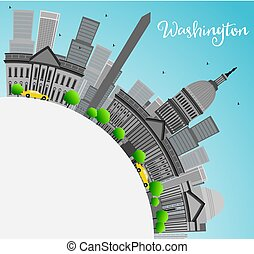 Washington DC city skyline with Gray Landmarks and Copy Space.