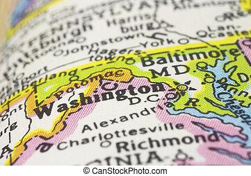 washington DC close up on map, shallow depth of field