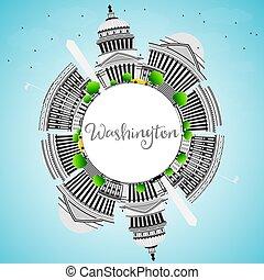 washington dc, contorno, con, gris, edificios, y, copia, space.