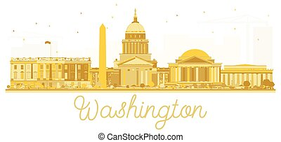 washington dc, estados unidos de américa, perfil de ciudad, dorado, silhouette.