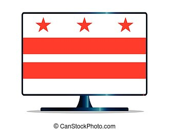 Washington DC Flag TV - A TV or computer screen with the...