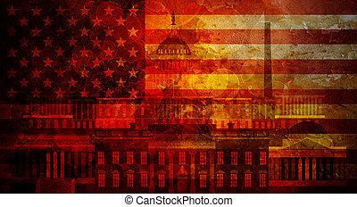 Washington DC Grunge Texture US Flag Illustration