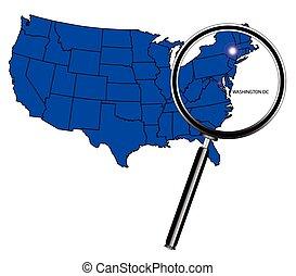 Washington DC icon inset set into a map of The United States...