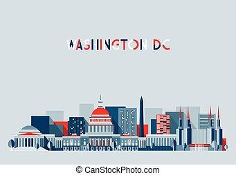 washington dc, illustratie, skyline, plat, ontwerp