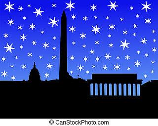Washington DC in winter - Washington DC skyline in winter...