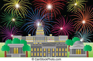washington dc, kwart van juli, vuurwerk