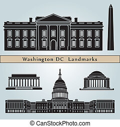 Washington DC landmarks and monuments isolated on blue...