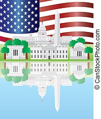 Washington DC US Capitol Building Monument Jefferson and Lincoln Memorial Reflection and US Flag Illustration