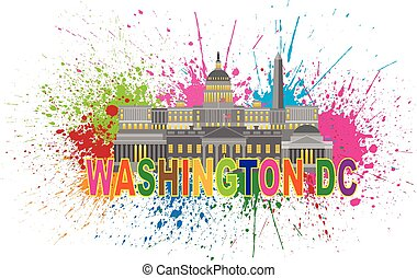 Washington DC Monuments Landmarks White House Capitol and Memorials Collage with Paint Splatter Abstract Isolated on White background Illustration