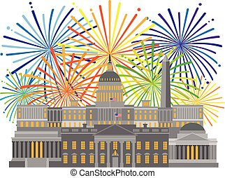 Washington DC Monuments Landmarks and Fireworks Illustration