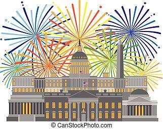 Washington DC Monuments Landmarks and Fireworks Illustration