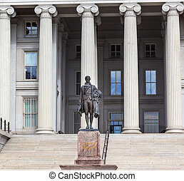 washington dc, ons, hamilton, standbeeld, schatkist, afdeling, alexander
