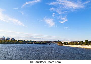 washington dc, panorama, coucher soleil
