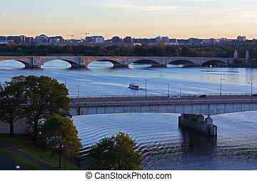 Washington DC panorama near Potomac River.
