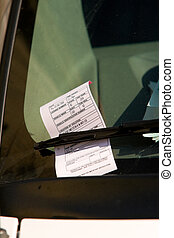 Washington DC Parking Ticket on Car Windshield - Close up of...