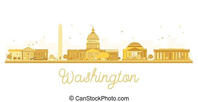 washington dc, perfil de ciudad, dorado, silhouette.