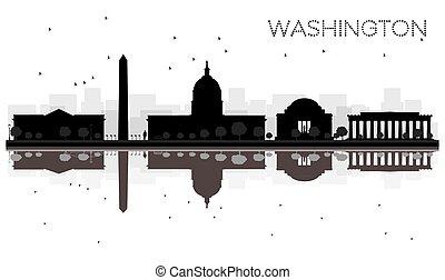 washington dc, perfil de ciudad, negro y blanco, silueta, con, reflections.