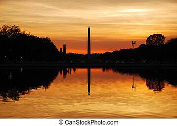 Washington DC - Washington monument sunset with lake...