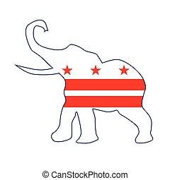 Washington DC Republican Elephant Flag - The Washington DC...
