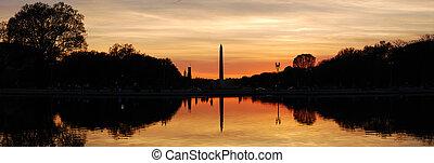 washington dc, silueta, panorama