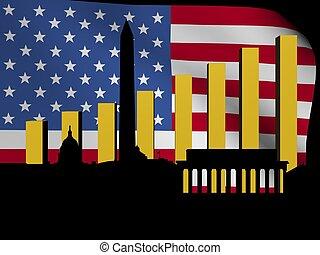 Washington DC skyline and graph