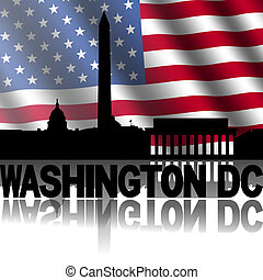 Washington DC skyline and text reflected with rippled American flag illustration