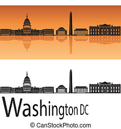 Washington DC skyline in orange background in editable ...