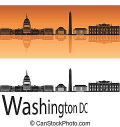 Washington DC skyline in orange background in editable...