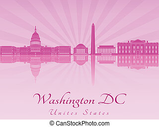Washington DC skyline in purple radiant orchid in editable...