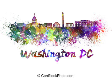 Washington DC skyline in watercolor splatters with clipping...