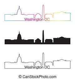 Washington DC skyline linear style with rainbow in editable...